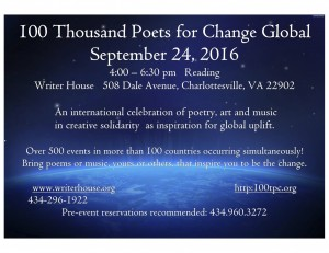 charlottesville 100 Thousand Poets for Change 2016 Global Event Flier (2)